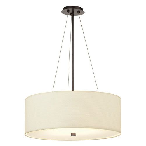 Taylor Three Light Merlot Bronze Drum Pendant W 24 Inch White
