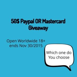 50$ Mastercard OR Paypal Giveaway Worldwide ends nov 30 #Giveaway