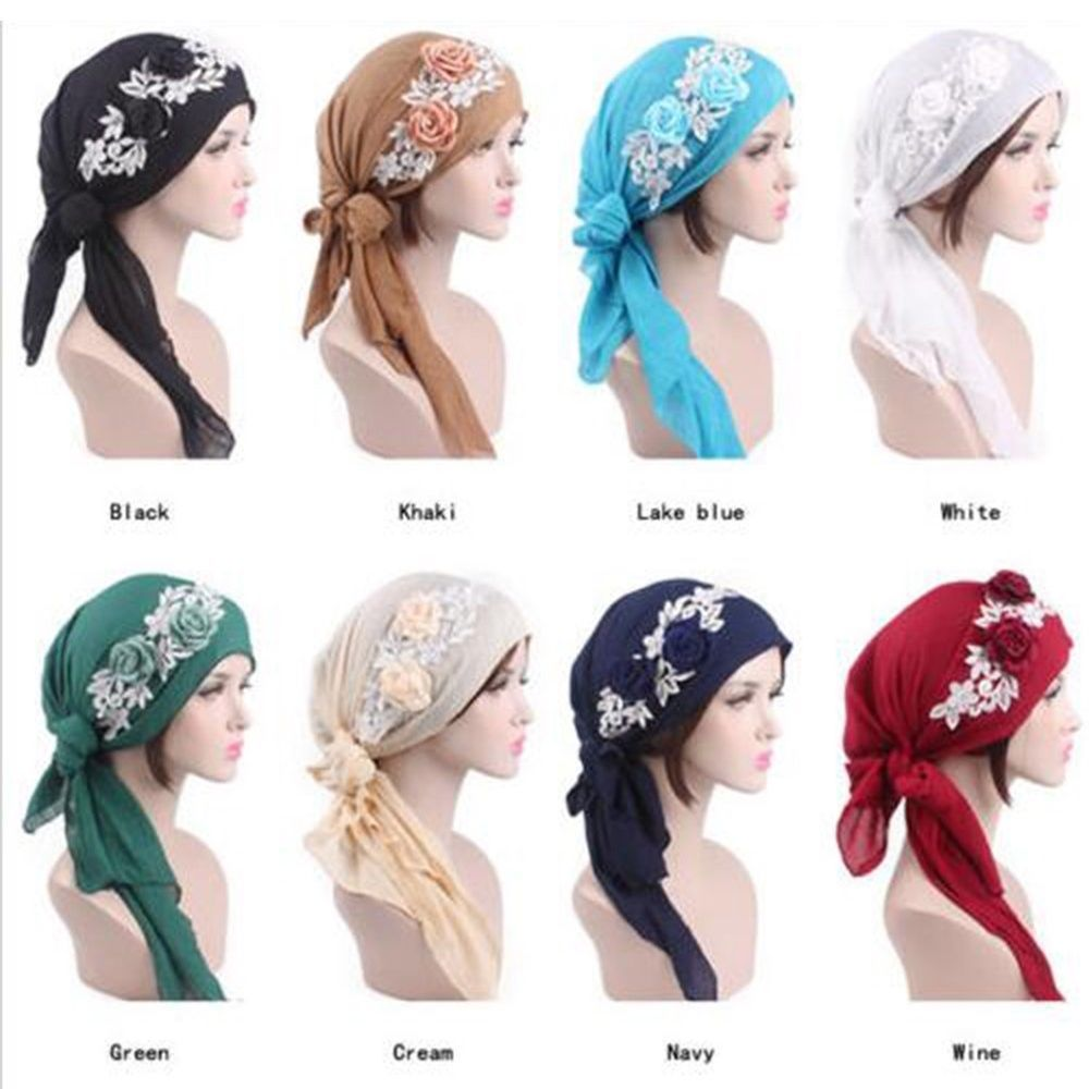 Fashion Muslim Women Beanie Turban Hat Head Scarf Wrap Chemo Bandana ...