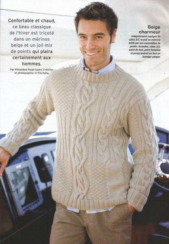 fiche tricot pull homme en point irlandais t 40 54 tricot homme pinterest pull homme. Black Bedroom Furniture Sets. Home Design Ideas