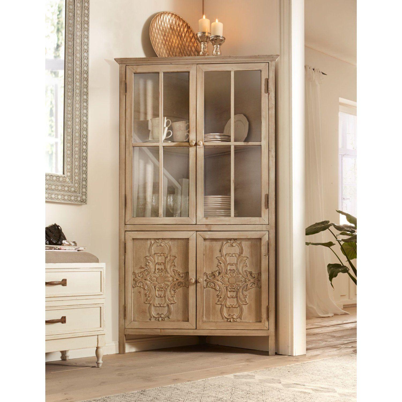 miaVILLA Eckschrank Vitrine Lui Shabby Chic Landhaus-Stil Holz Glas ...