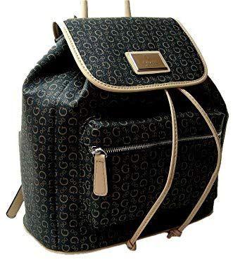 2390a4bd56 Amazon.com  New Guess G Logo Signature Flap Draw String Backpack Book Bag  Black