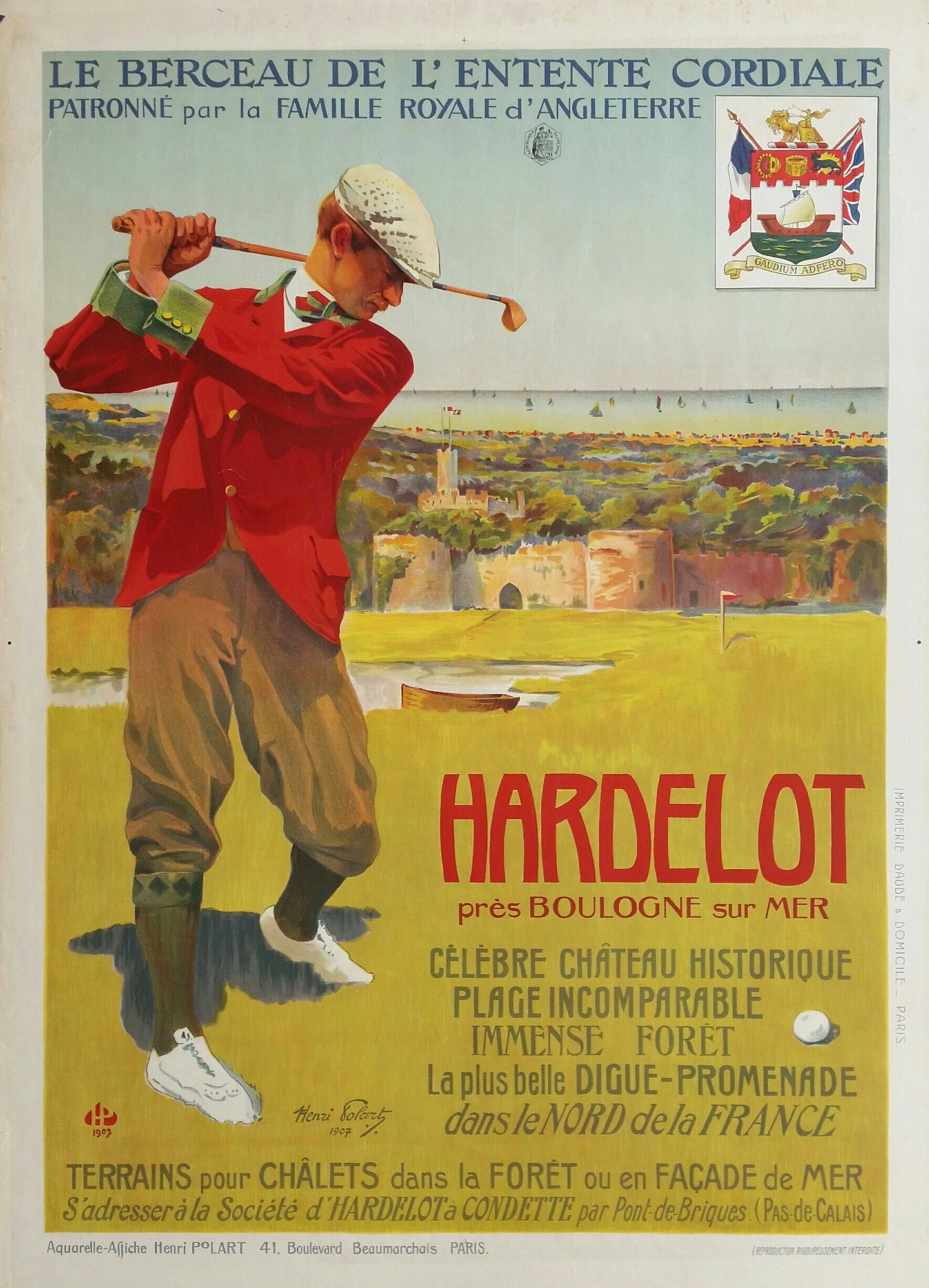 Original Vintage Poster Golf Hardelot Henri Polart Golf Poster Golf Humor Vintage Golf