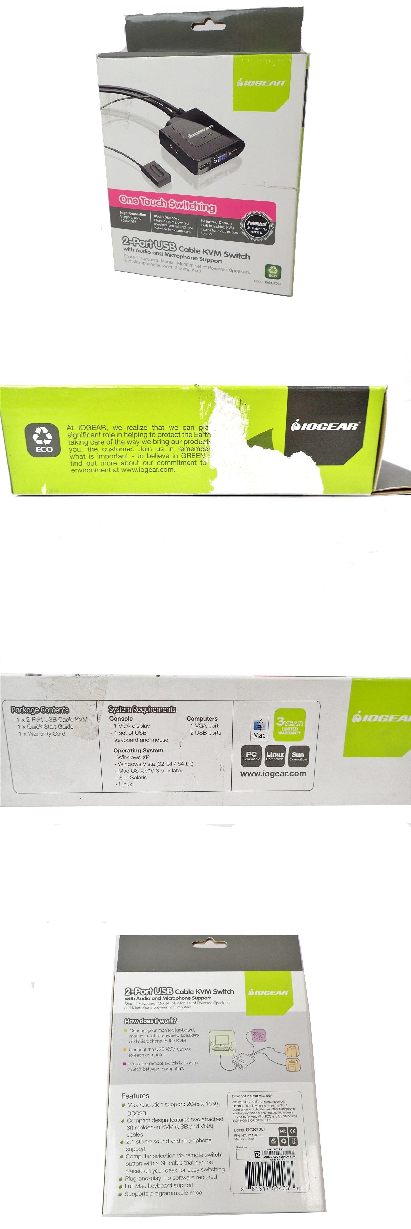 KVM Switches 182096: New Iogear 2 Port Usb Cable Kvm Switch
