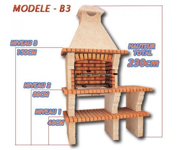 Foyer Extérieur Brique Plan : Barbecues en brique rouge avec foyer acier et grilles