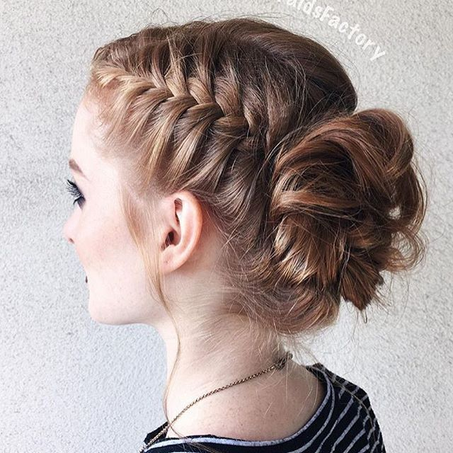 Side French Braid Into A Bun Womens Hairstyles Hair Styles Diy Hairstyles