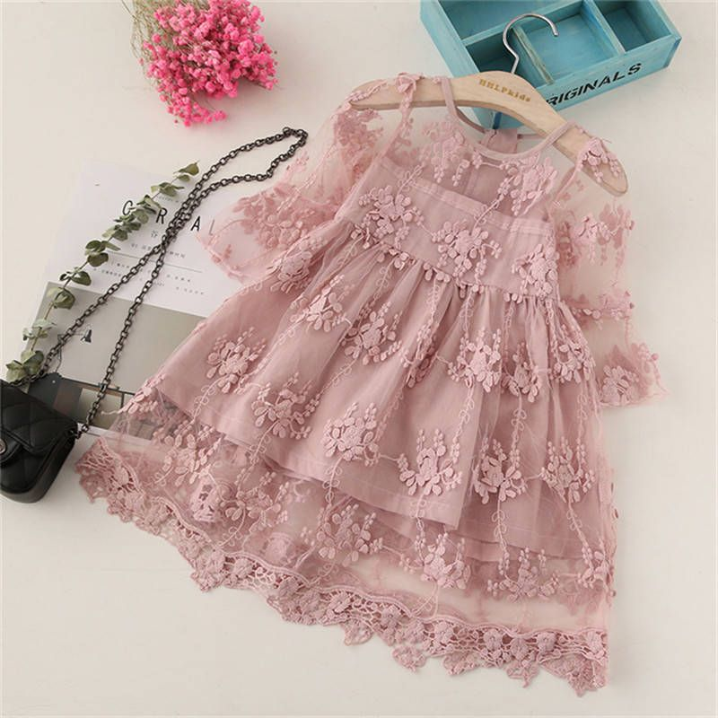 Baby / Toddler Girl Pretty Solid Floral Lace Decor Three-quarter Sleeve Dresses