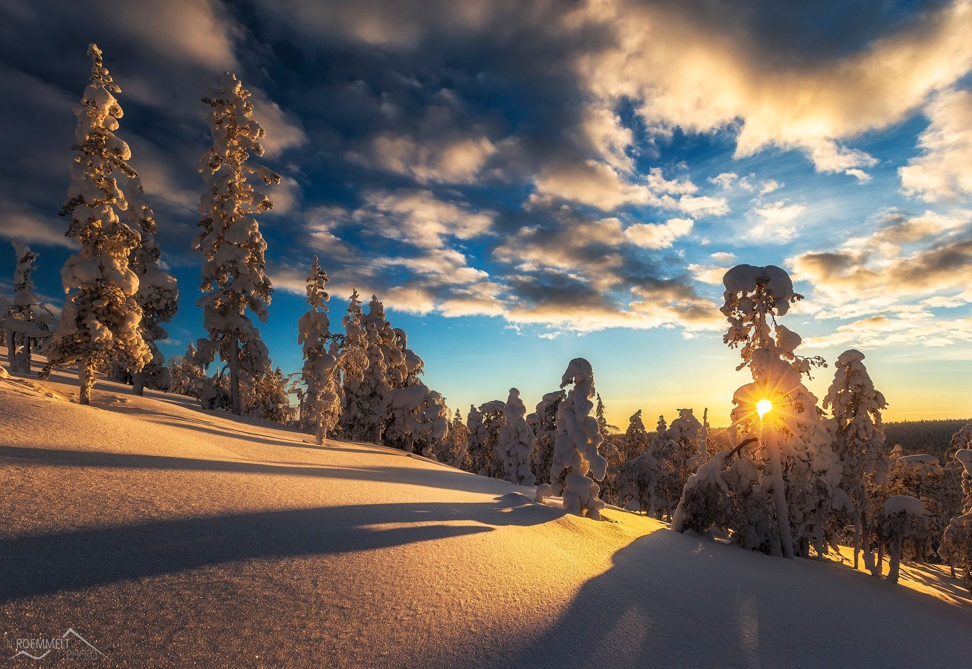 Golden light - Sunnset in Finland during Winter