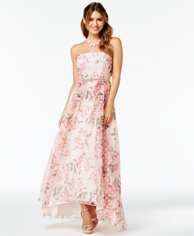 B Darlin Juniors\' Floral-Print A-Line Gown | macys.com | Clothes ...