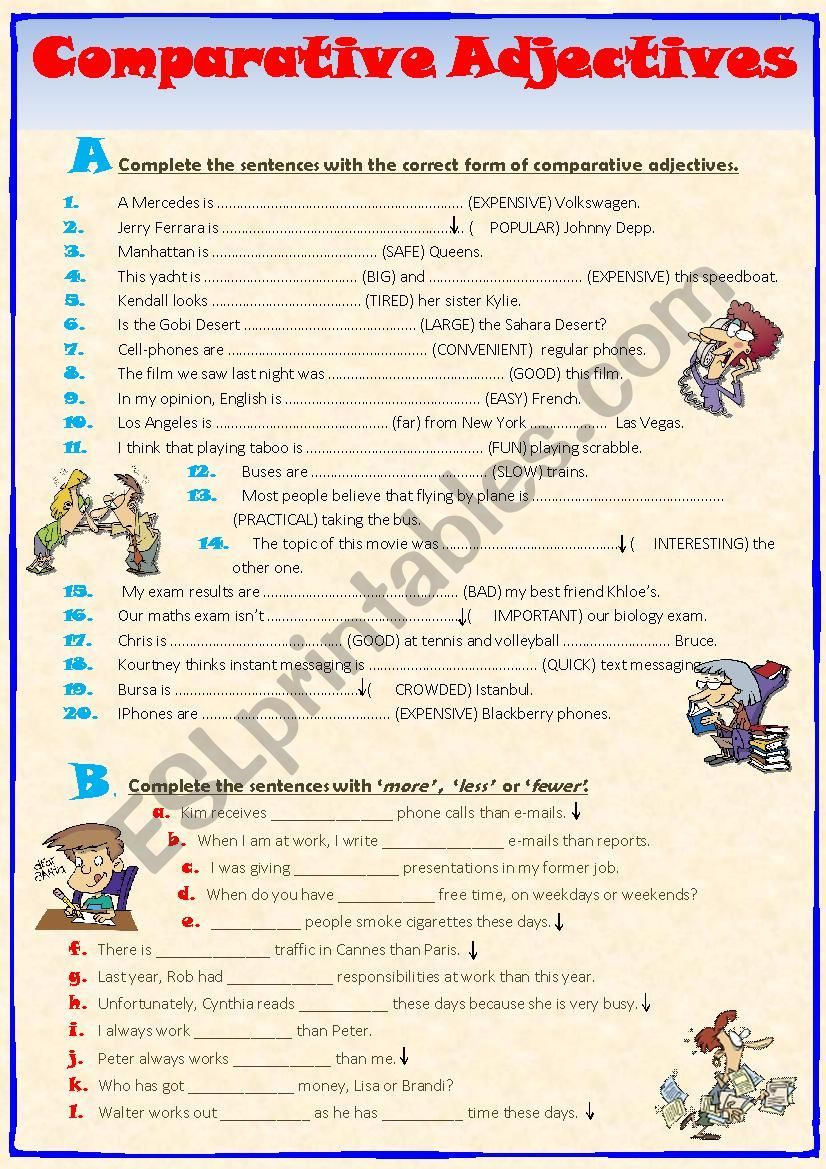 Opuesto Bajo creciendo  Exercises on comparative adjectives. More - Less - Fewer noun usages also  included. Together with the An… | Comparative adjectives, Adjectives,  Adjectives exercises