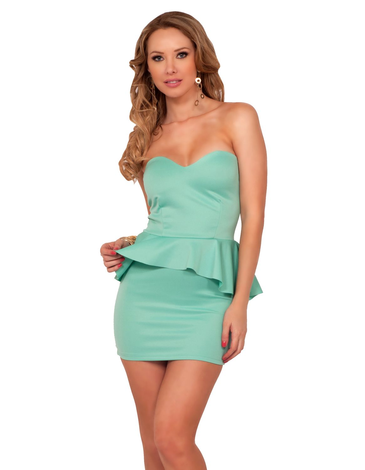 Sweetheart Padded Strapless Pull Up Peplum Evening Cocktail Party ...