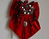 Photo of Decorazioni natalizie / Fiocco in velluto di cotone / Fuoriporta natalizio / Ghirlanda fuoriporta / puntale albero.