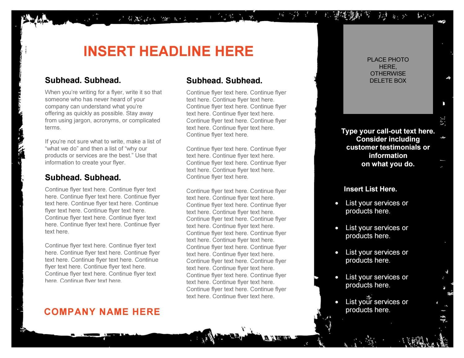 Black And White Flyer Template  Flyer Template And Template
