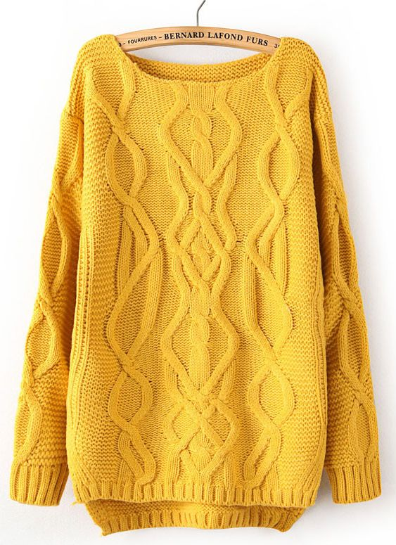 Yellow Long Sleeve Cable Knit Pullover Sweater - Sheinside.com