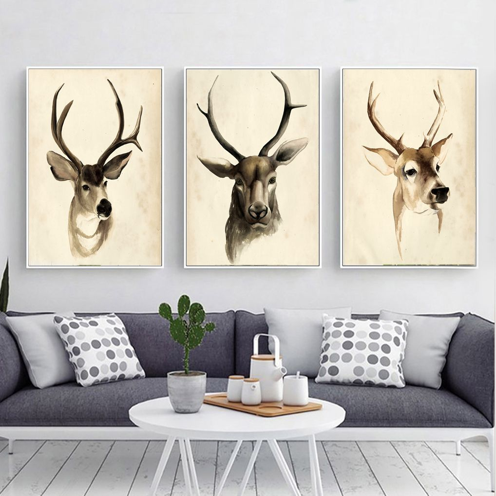 Retro Deer Canvas Print, Wall Art, Poster, Airbnb Home Decor. Sofa / Cafe /  Office / Hotel Painting, Housewarming Gift. 3pcs. Unframed.