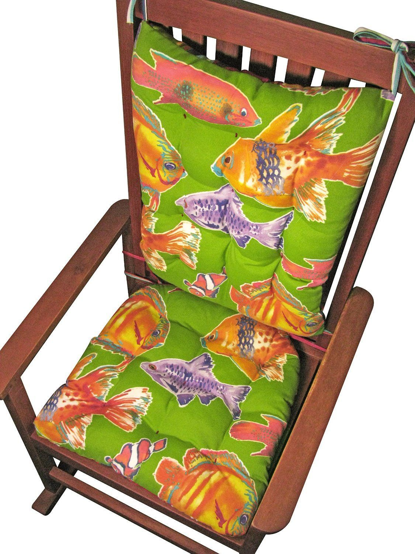 Big Fish Lime Green Porch Rocker Cushions - Size Standard- Reverses ...