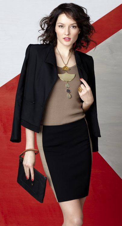 Mobile Necklace by Ann Taylor. Sculptural, bold statement, but not overwhelming! Perfect with these simple lines. $98.00