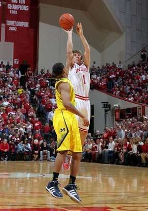 Indiana Hoosiers guard Jordan Hulls (1) shoots as Michigan Wolverines guard Trey Burke (3) defends at Assembly Hall.