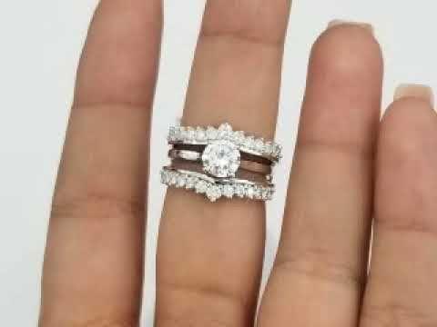 14k White Gold Round Diamonds Solitaire Enhancer Wedding Ring