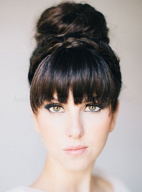 High bun wedding hairstyles tup bun hairstyles for brides high brides retro high bun updo with bangs bridal hair ideas toni kami wedding hairstyles ciara richardson photography pmusecretfo Images