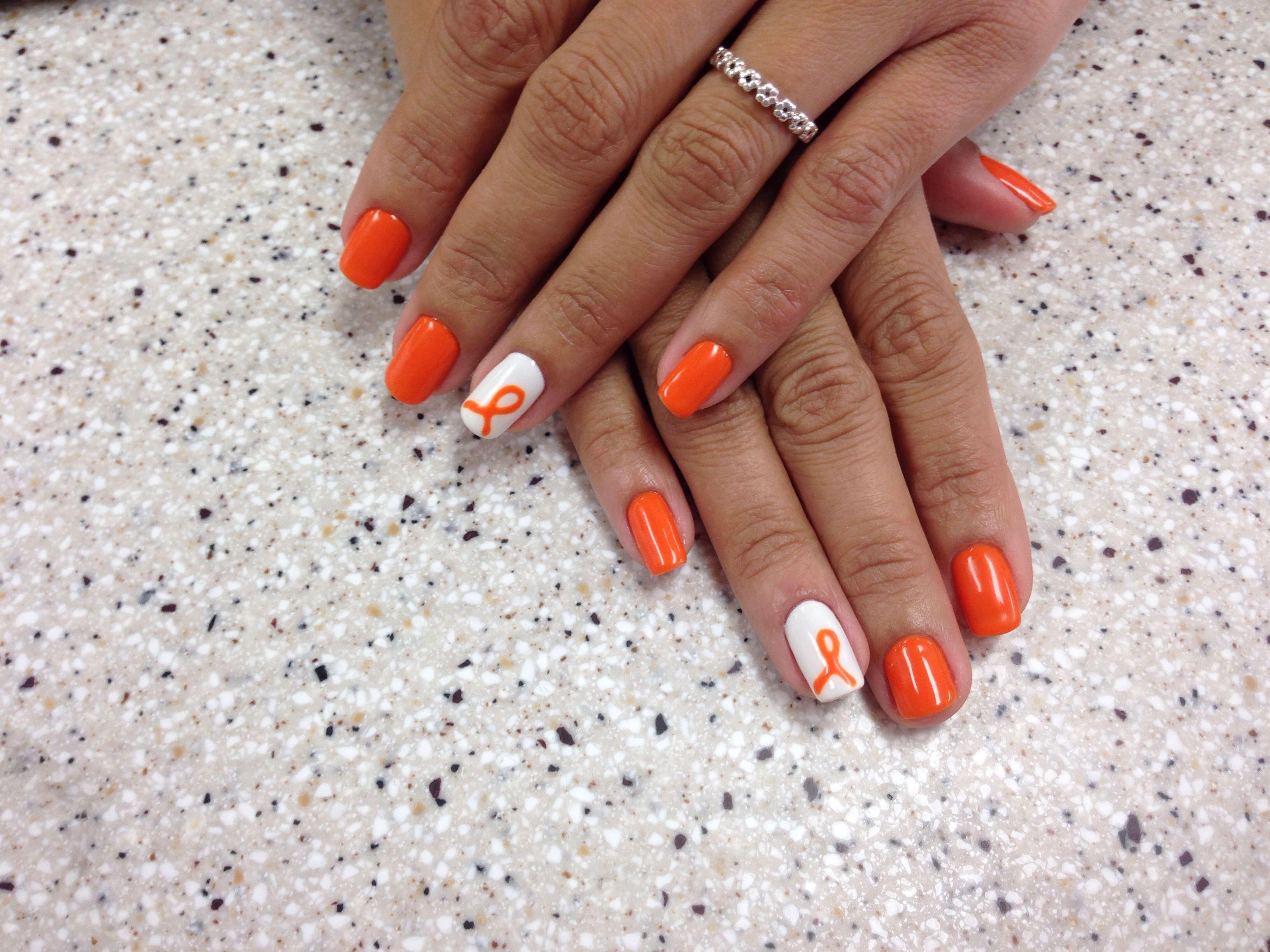 Leukemia Awareness In Honor Of My Mami S Battle Cancer Nails Orange Acrylic Nails Orange Nail Designs