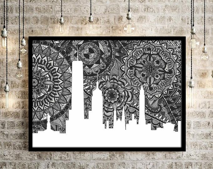 New York Skyline Skyline Of New York Print New York Zentangle