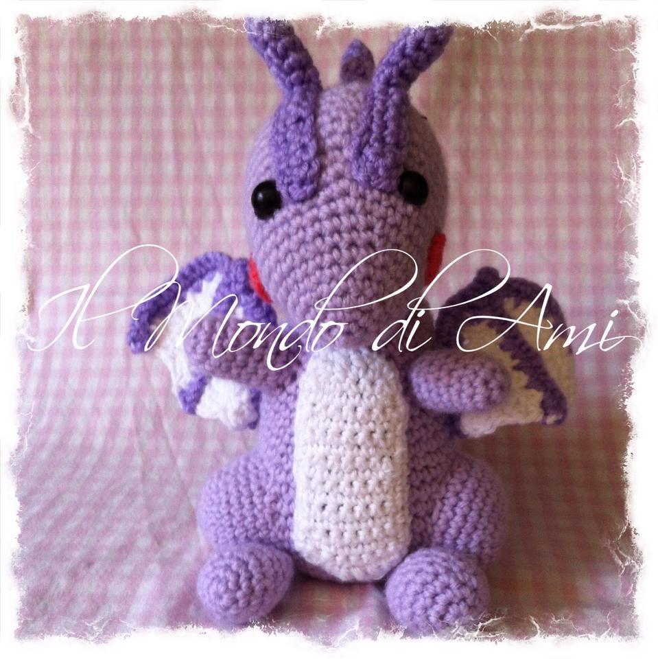 Drago amigurumi crochet, uncinetto. Fatto a mano. Amigurumi dragon. handmade.