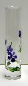 Pick your own violets and display in our beautiful bud vase hand painted with delicate violets. Measures 7.5 tall with 1.5 opening. Makes a great