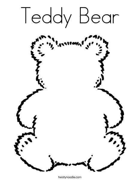 Teddy Bear Coloring Page...paint this bear with chocolate pudding ...