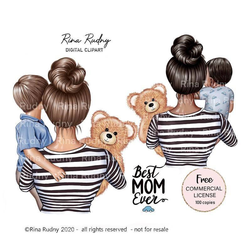 Mother S Day Clipart Mom Son Clipart Mommy Clipart Teddy Bear Clipart Children Clipart Parents Clipart Family Clipart Pintura Mae E Filho Tatuagem Para Filho Tatuagem Familia