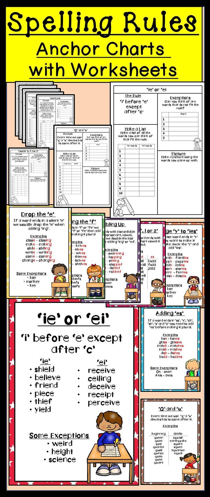 worksheet Spelling Rule I Before E Worksheet spelling rules with anchor charts chart and activities in this pack you will find 8 different each rule