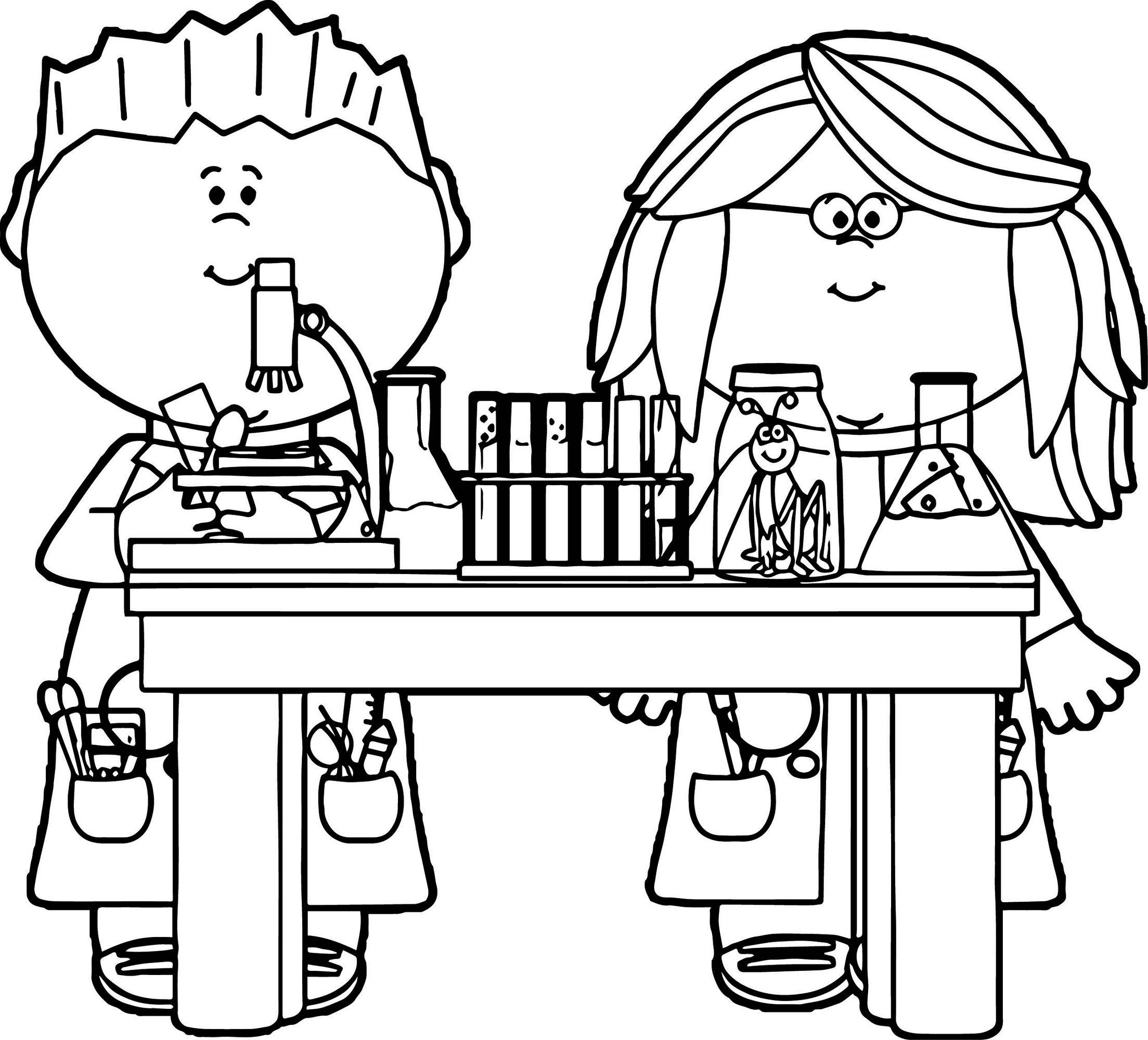 Kids In Science Class Coloring Page Printable Profession