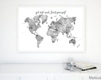 36x24 black and white watercolor world map printable grayscale 36x24 black and white watercolor world map printable grayscale world map get lost and find yourself dorm decor for him map033 c gumiabroncs Gallery