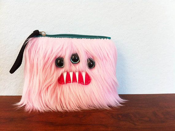 Small Baby Pink Monster Pouch Three Turquoise by ShopGhoulieGirls, $20.00