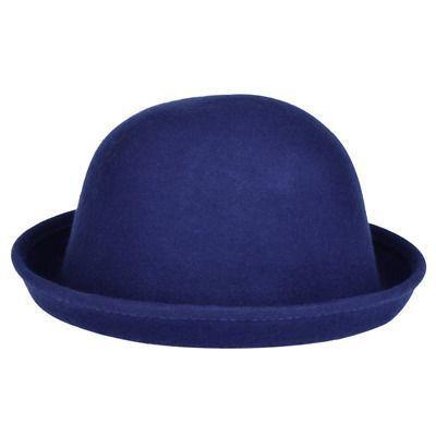 52c21c31084 Vbiger Bowler Hat Fedora Winter Roll-up Brim Derby Hats for Women Royal  Blue