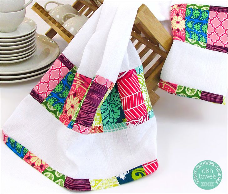 Scrappy Patchwork Border Dish Towels | Sew4Home #dishtowels