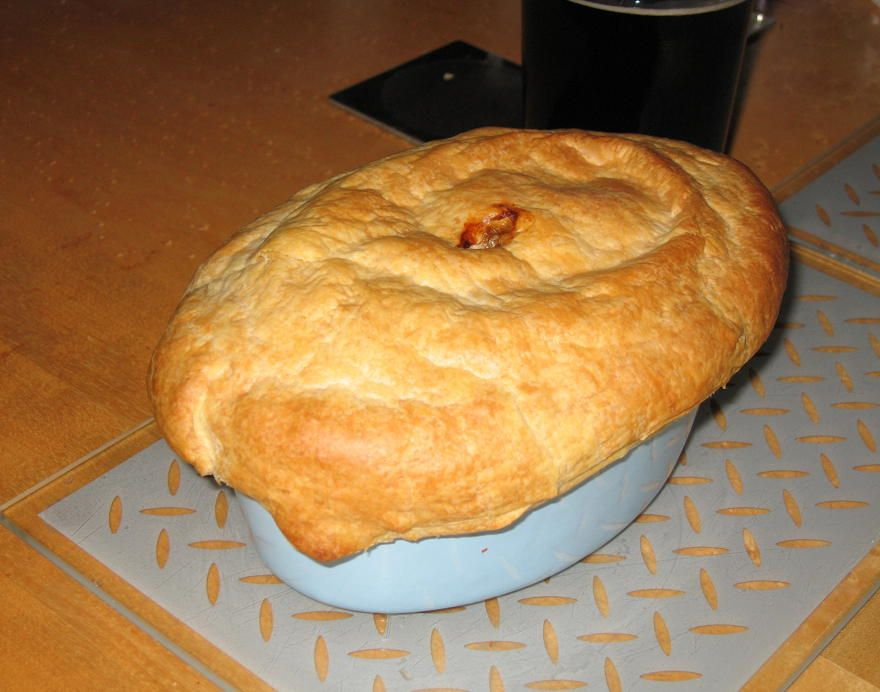 An old British classic, steak and ale pie, with a puff ...