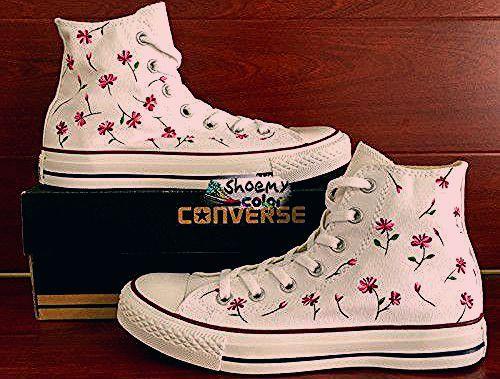 High Top Womens Converse Schuhe Floral handgemalte Canvas Sneakers  #canvas #converse #floral #handgemalte #schuhe #sneakers #womens,