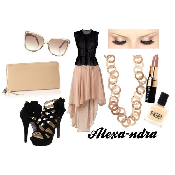 black & nude outfit with mullet skirt
