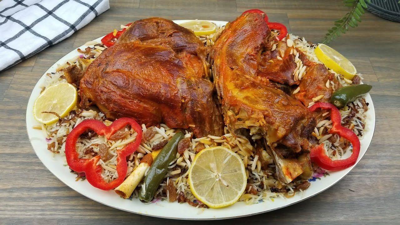 طبح لحم تيس مفطح مع وصفة رز روعه Roasted Goat Recipe With Rice Middle Eastern Recipes Goat Recipes Recipes