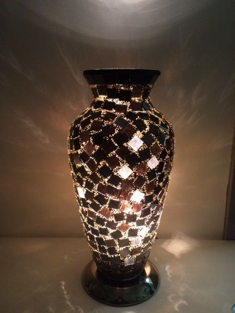 MIRRORED BLACK MOSAIC VASE TABLE LAMP, MIRRORED GLASS ...