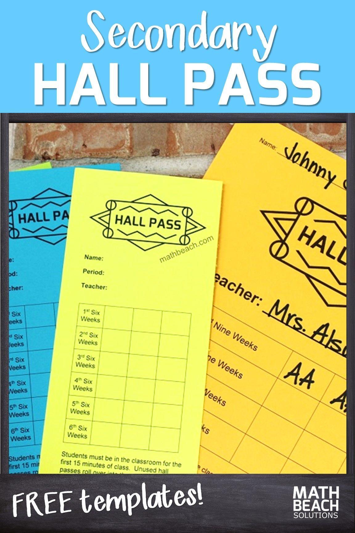 High School Hall Pass Classroom Procedures For High School Math