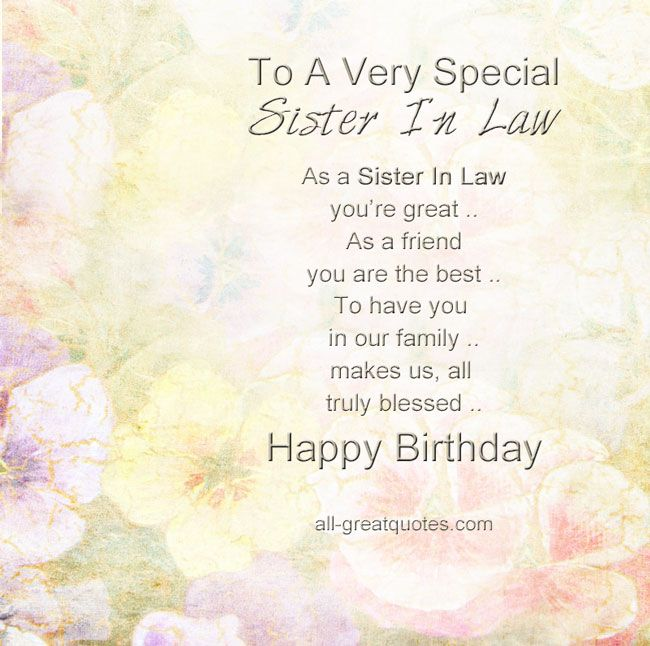 Sister Birthday Wishes Quote: Share Sweet, Lovely Free Birthday Cards For Sister-In-Law