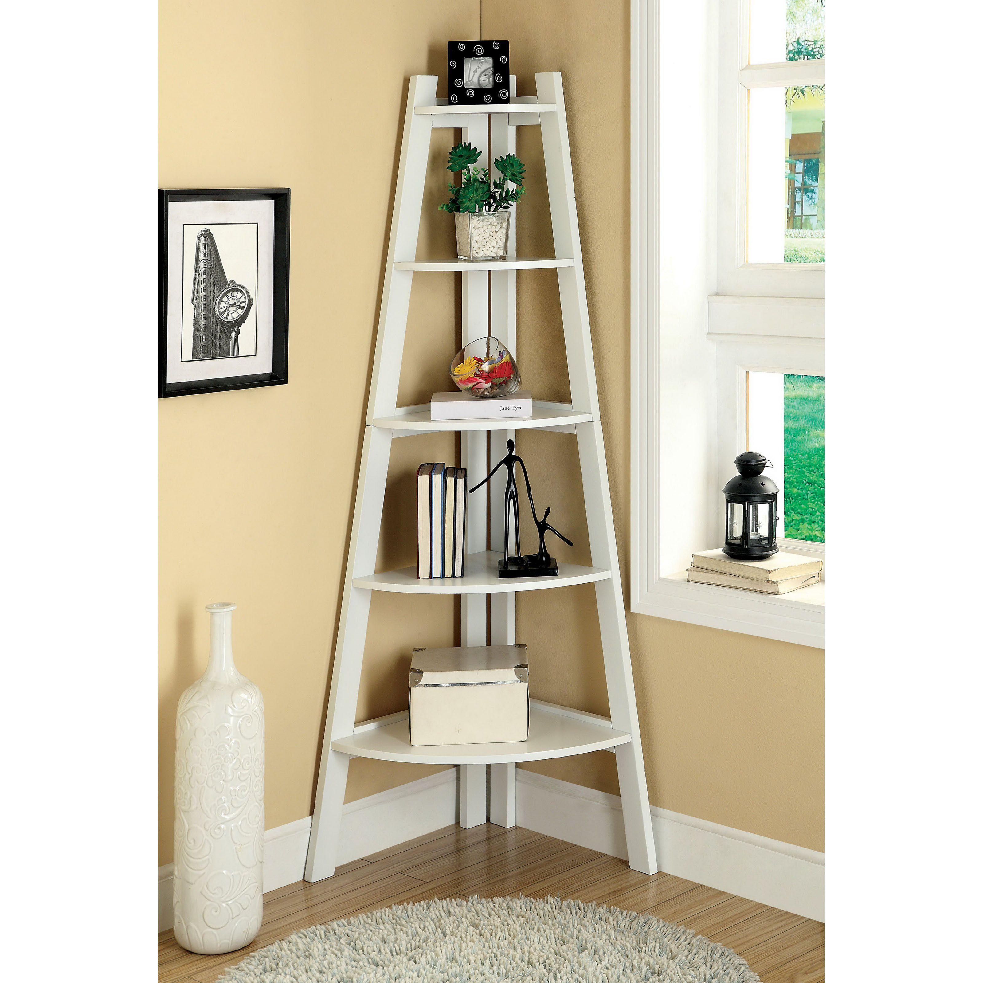 Merill tier ladder corner shelf white hayneedle