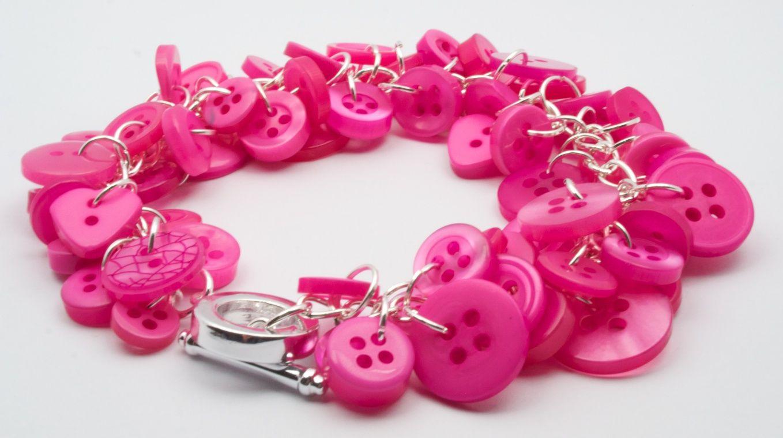Pinker than Pink Button Charm Bracelet