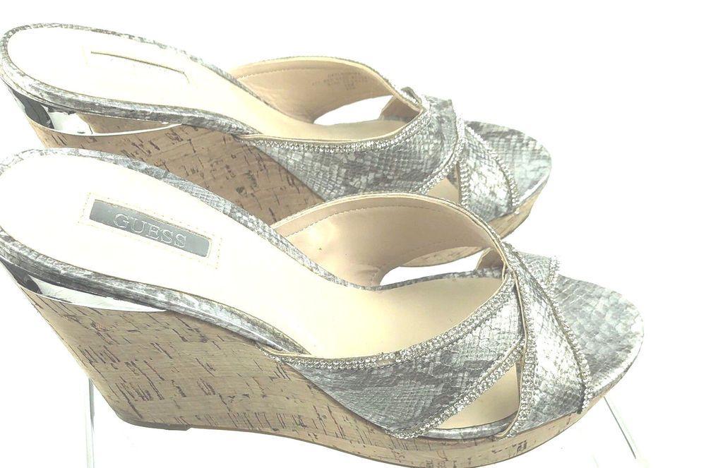 16d0a16315e8 GUESS Wedge Platform Sandals 10M Eleonora Silver Slide Cork Snake Print  Peep Toe  GUESS