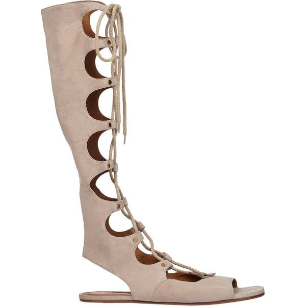 Chloé Women's Lace-Up Tall Gladiator Sandals (1.770 BRL) ❤ liked on Polyvore featuring shoes, sandals, flat sandals, white, white flat shoes, gladiator sandals, tall gladiator sandals and white gladiator sandals