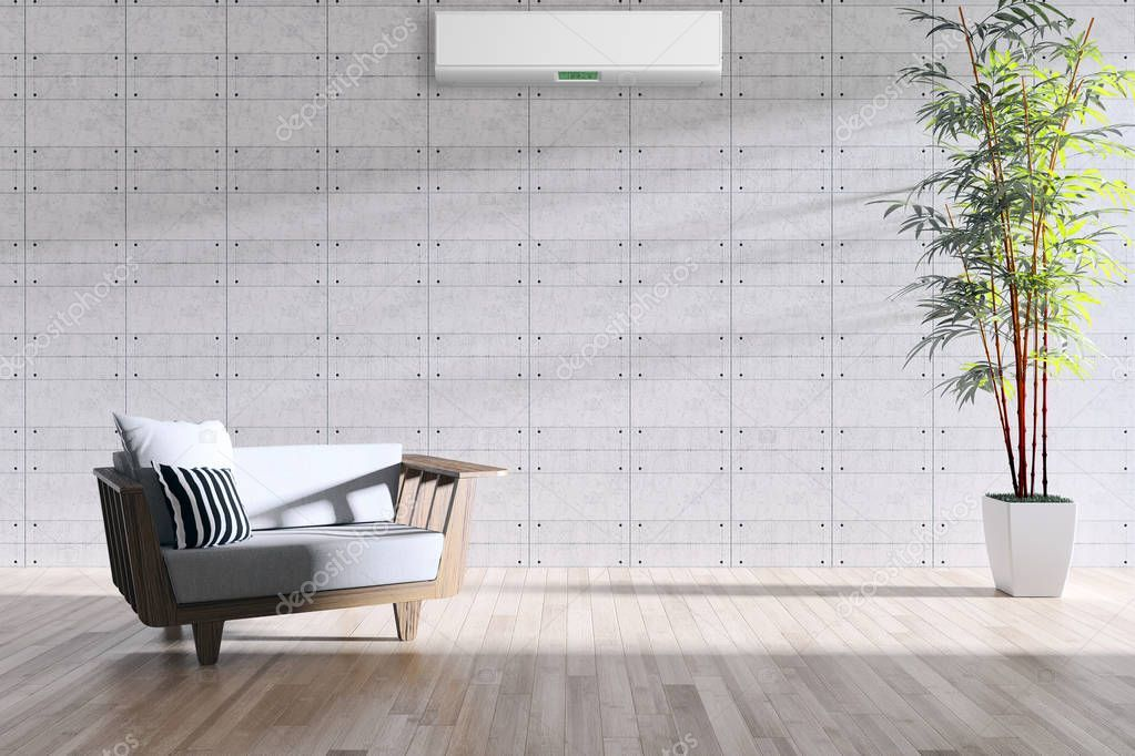 Modern interior with air conditioning 3D rendering