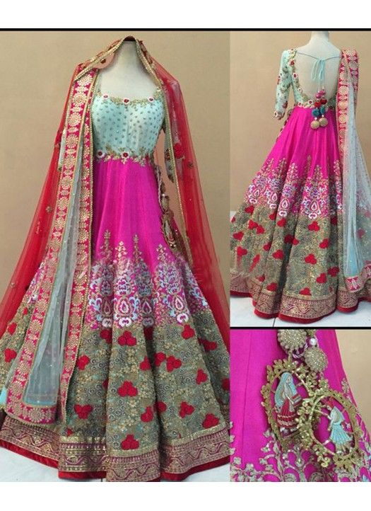 New Pink & Sea Green Banglori Silk Wedding Wear Long Gown #gown #weddinggown #designergown #partyweargown #princessgown #formalgown #ceremonial gown #festivalgown #receptiongown #dressup #weddingdress #womangown#fashiongown
