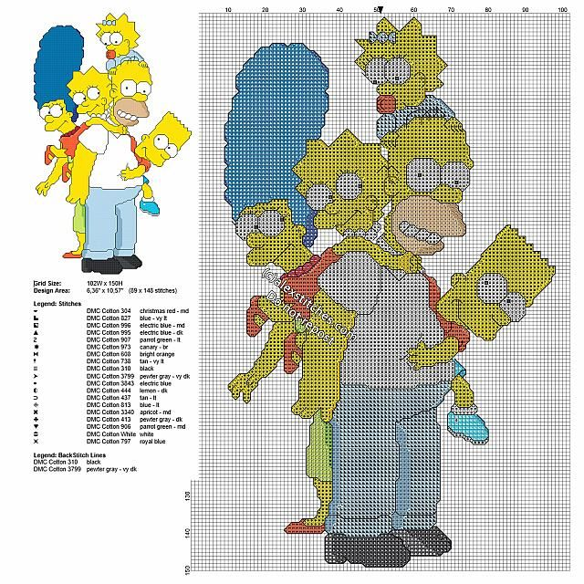 The Simpsons Family Free Cross Stitch Pattern With Back Stitch